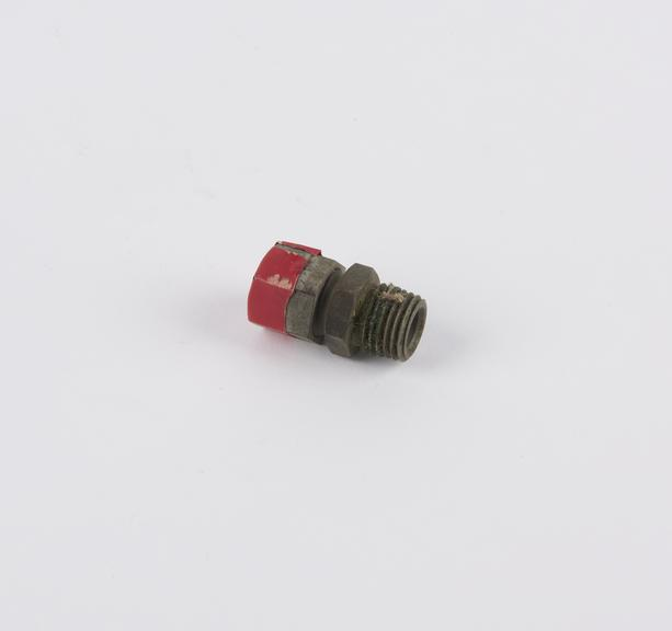 Threaded ?end cap? with red insulating tape affixed at one end, for Beardmore Heavy Oil engine, diesel engine, Tornado