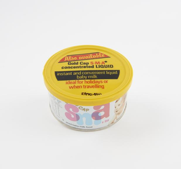 Sample tin of Gold cap S.M.A. milk powder made by Wyeth Laboratories,English, 1979-1981; first made available in the