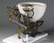 """Optimus"" patent water closet of 1870. Image taken 3/4 rear view. Graduated grey background"