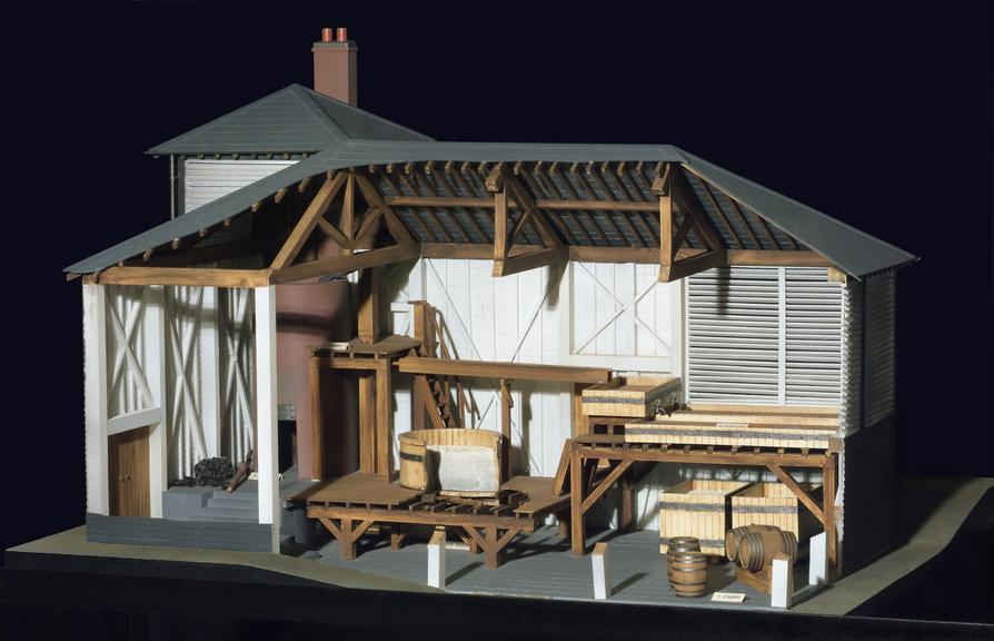Model of a Brew House, 1748. Mid-18th century style. Model scale 1:24. Overall measurement: 460 x 705 x 610 mm. Model
