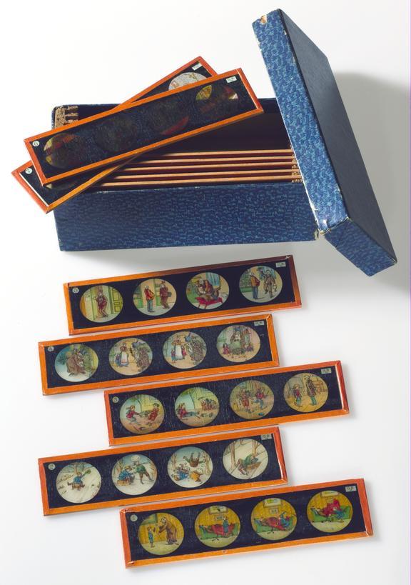 Box of twelve hand-coloured slides for a magic lantern, 1913-1920.