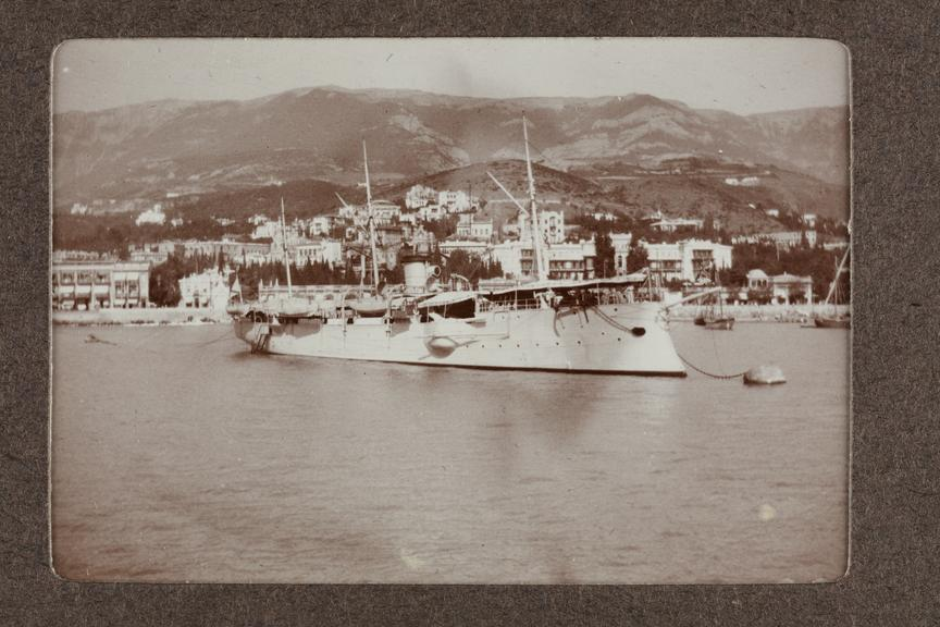 Black and white photograph entitled 'Yalta' showing a coastal view of Yalta,taken by Herbert Stewart in Crimea,Russia
