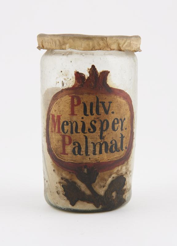 Glass drug jar, with parchment cover, labelled PULV.MENISPER PALMAT' (powdered calumba root), probably Spanish, 17th or