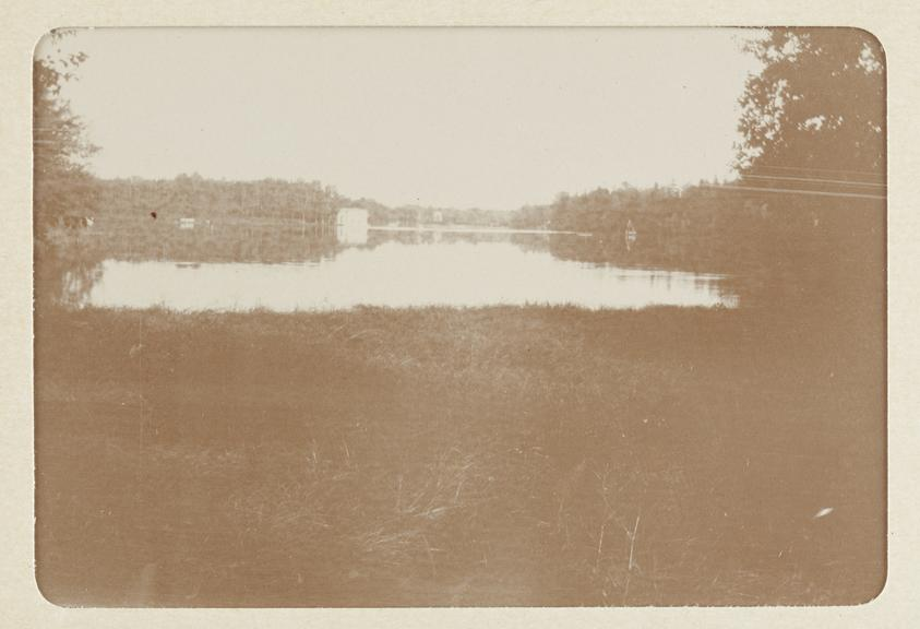Black and white photograph entitled 'Gatchina. The inner park' showing a view of the lake at 'Gatchina. The inner