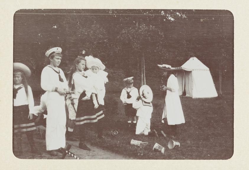 Black and white untitled photograph showing, from left to right, HIH The Grand Duchess Anastasia Nicholaivna, HH Prince
