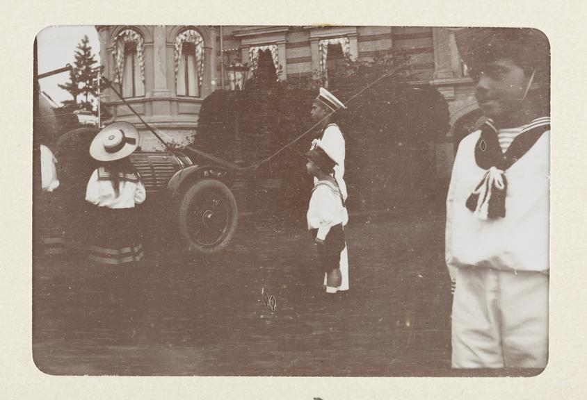 Black and white photograph untitled showing left to right HH The Prince Andrew Alexandrovitch, HIH The Tsarevitch and