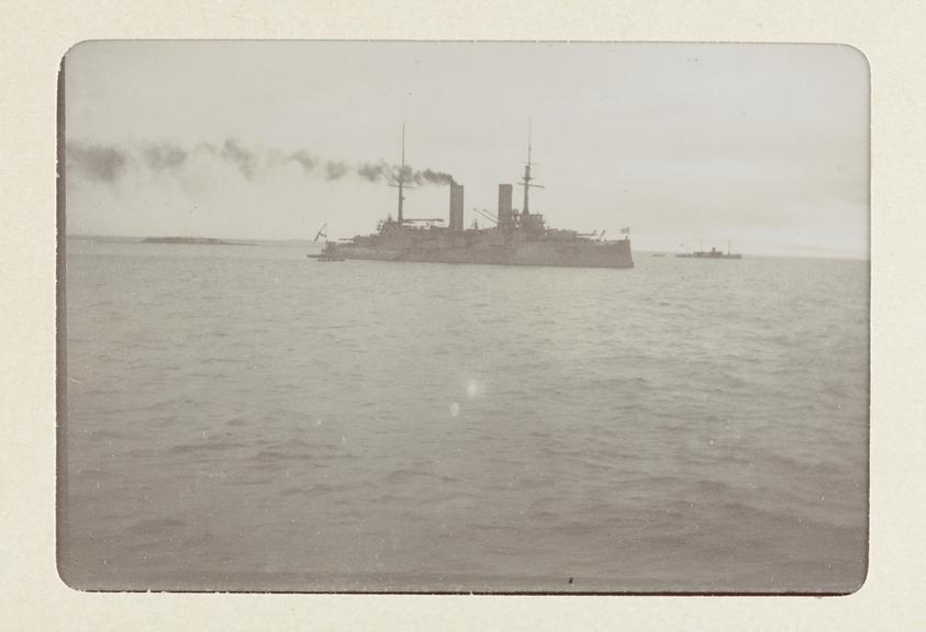 Black and white photograph entitled 'Some of the Russian Fleet off Cronstadt - Slava' taken by Herbert Stewart in