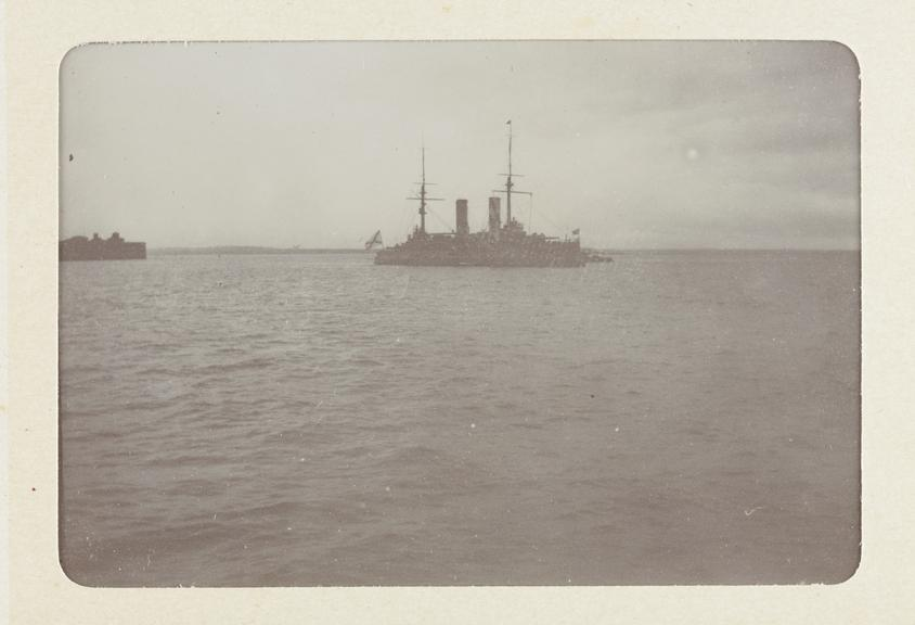Black and white photograph entitled 'Some of the Russian Fleet off Cronstadt - Tsarevitch' taken by Herbert Stewart in