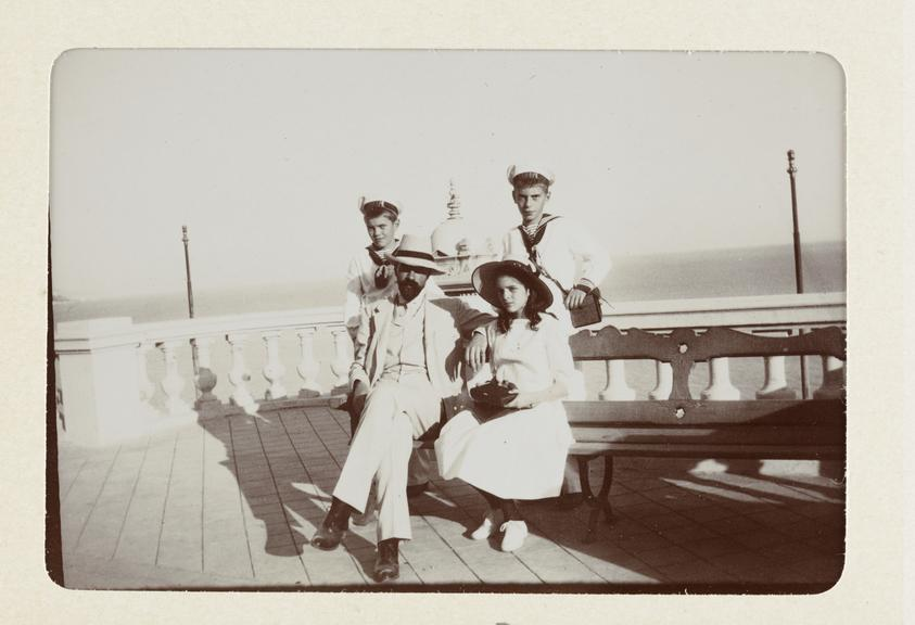 Black and white photograph entitled 'Monte Carlo' showing left to right HH The Prince Feodore Alexandrovitch, HIH The