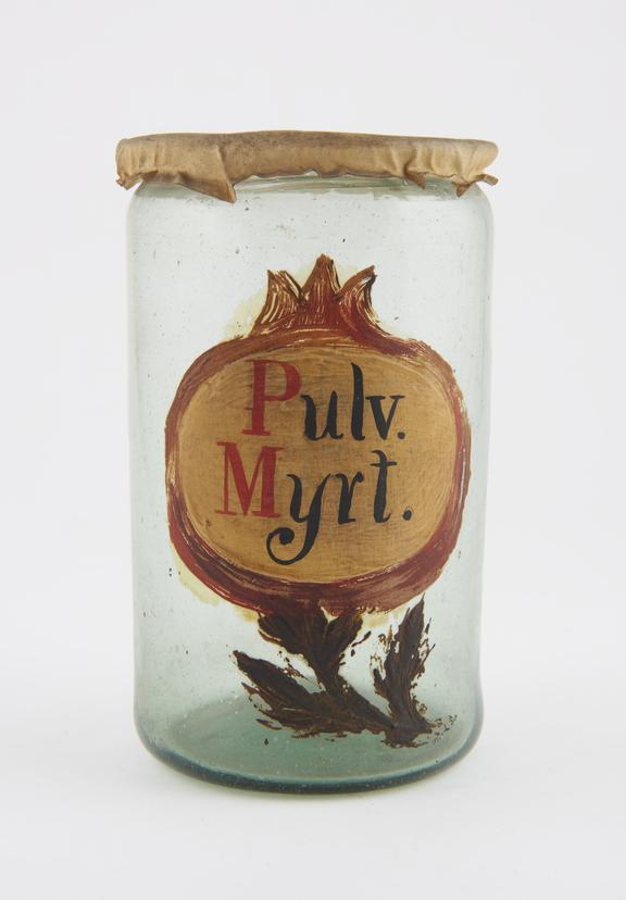 Glass drug jar, labelled PULV. MYRT.' (powdered myrtle), with parchment lid, probably Spanish, 17th or 18th century'