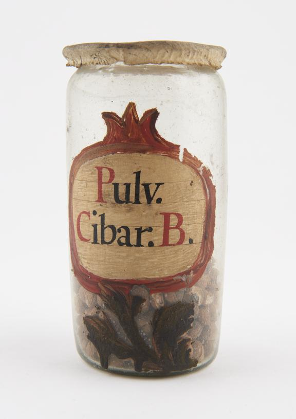 Glass drug jar, labelled Pulv. Cibar.B.' (Powdered white cinnabar), with parchment lid, probably Spanish, 17th or 18th