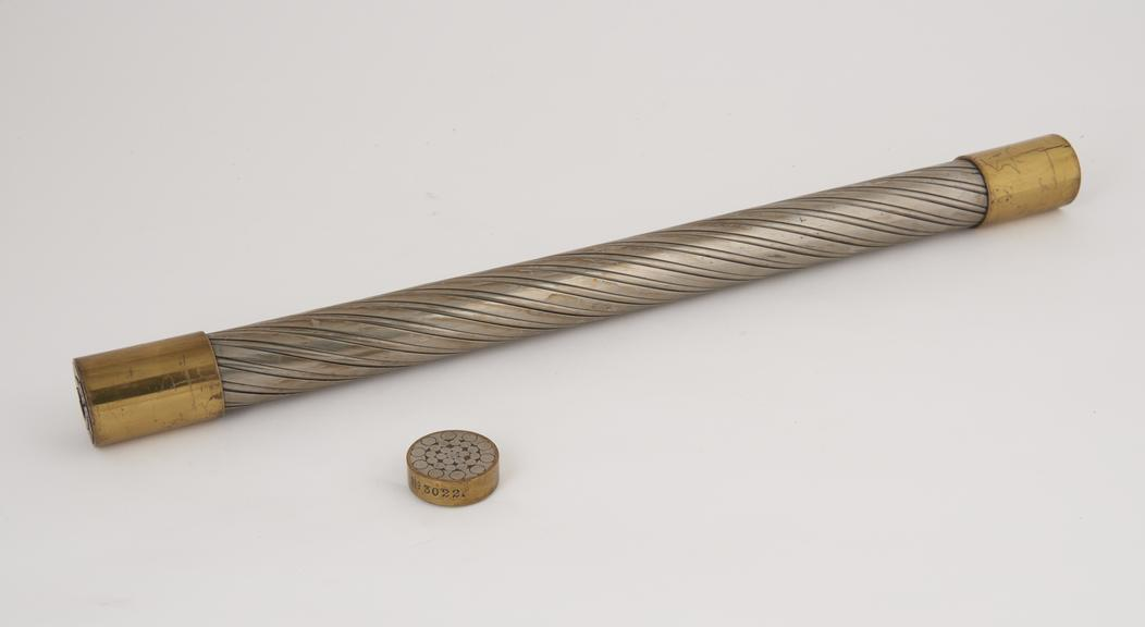 Sample of 3 7/8 circular locked coil. Half lock for aerial ropeways. No.3022 and cross section'