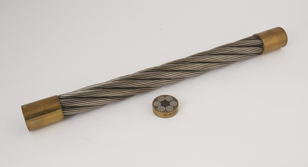 Sample of 4 1/2 circular round strand winding rope, 6 strands 17 wires each. 10 over 6 over 1. Langs Lay Hemp Main Core