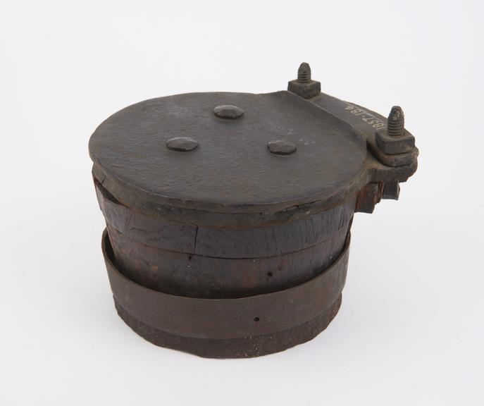 Single Clack Valve, about 7 diameter with metal clack and leather hinge'
