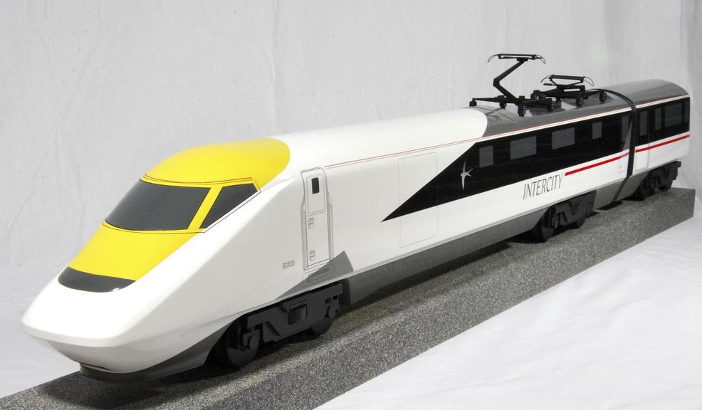 1:20 scale concept model of the InterCcity 250 Class 93 locomotive. The Class 93 was intended to run on the West Coast