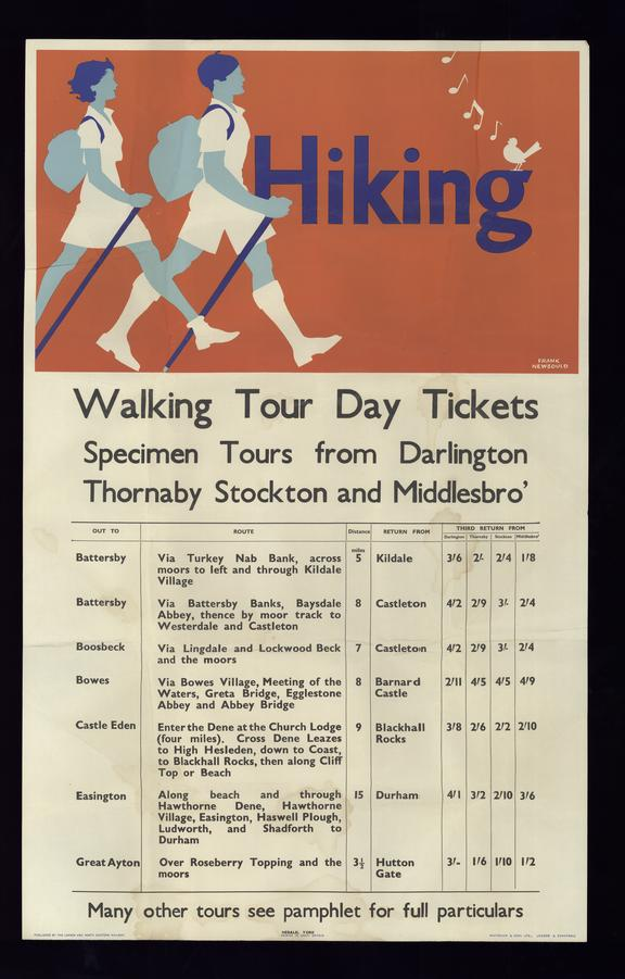 Poster, London and North Eastern Railway, Hiking by Frank Newbould. Walking Tour Day Tickets - Specimen Tours from