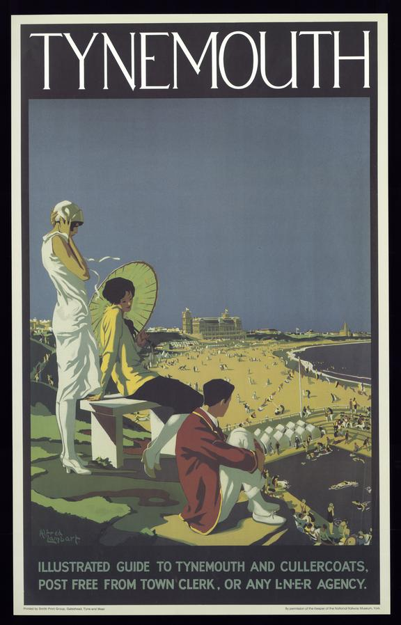 Poster, London & North Eastern Railway, Tynemouth, by Alfred Lambart, showing 3 people on clifftop looking at beach