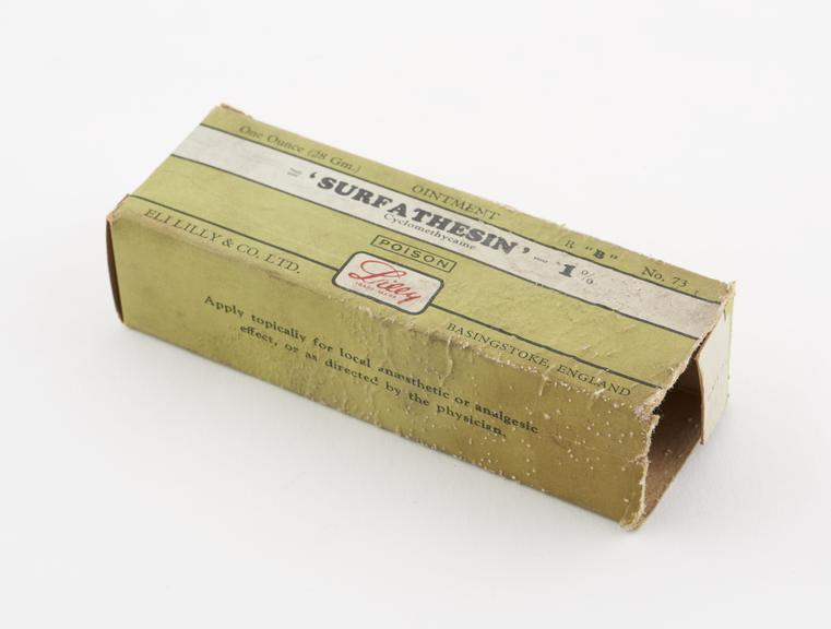 Tube of Surfathesin' in original carton, by Eli Lilly and Co. Ltd., English, 1955-1970'
