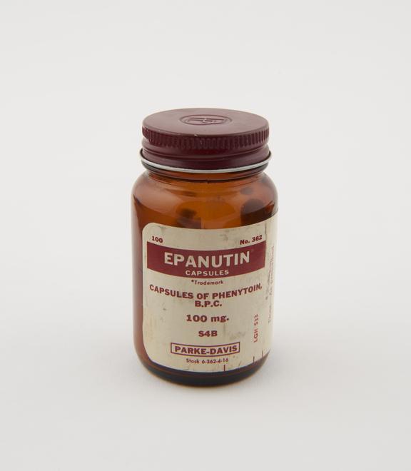 Bottle of Epanutin' capsules, by Parke, Davis and Co., English'