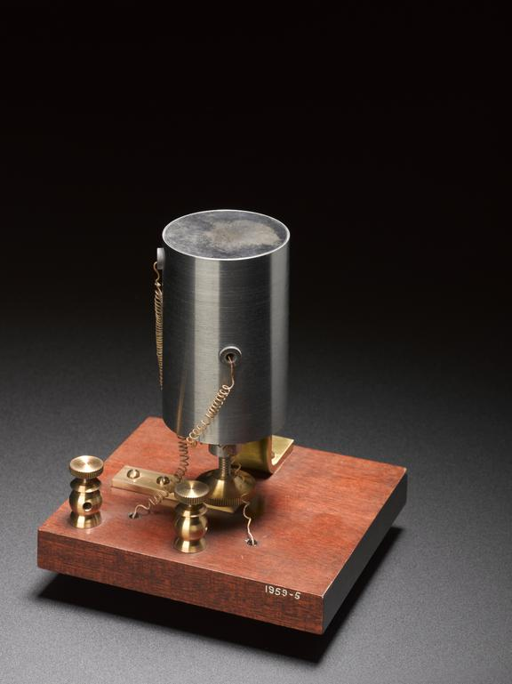 Replica of Bell's 'iron box' receiver, unknown maker, 1876.              This was the type of receiver that Bell successfully