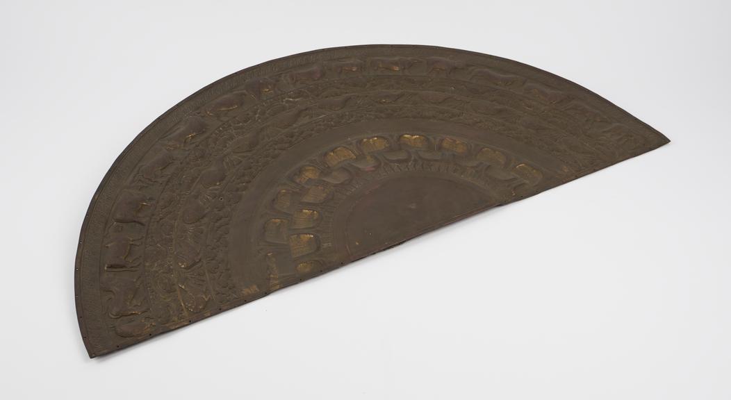 Brass imitation of Sinhalese moonstone plaque, Ceylonese, 1801-1900
