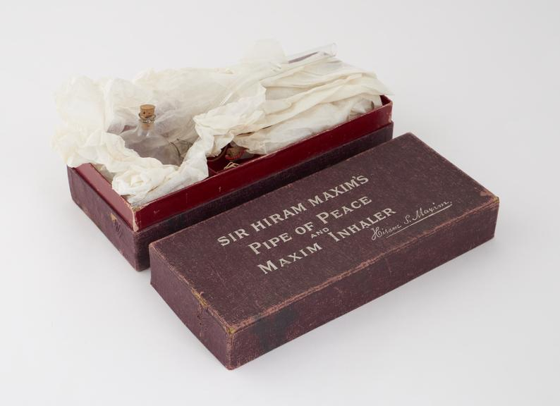 Glass inhaler, Pipe of Peace', Sir Hiram Maxim type, in box, English'