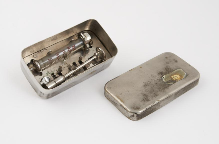 Hypodermic syringe, Record', glass and nickel plated brass, in nickel plated brass case, Europe, 1910-1930'