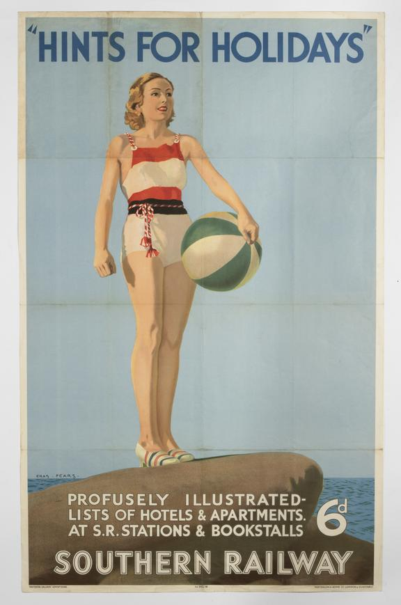 Poster, Southern Railway ' Hints for holidays' by Charles Pears, 1930