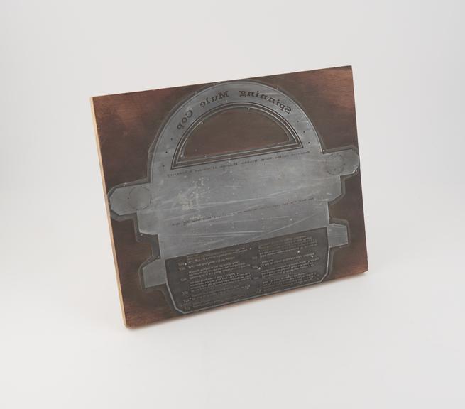 Printing Block for Spinning Mule Cop Souvenir Packaging