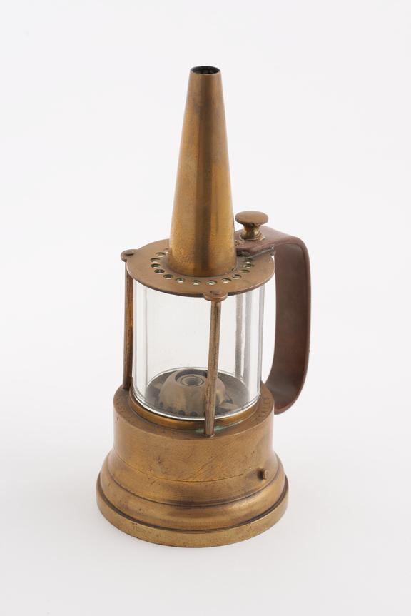 Miner's oil safety lamp, coal