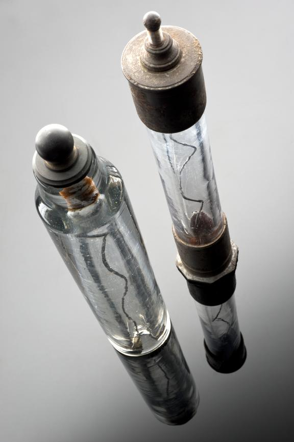 Left hand side: 1984-1261/1, Eudiometer, one of three of different designs, with metal cap and base. Right hand side: