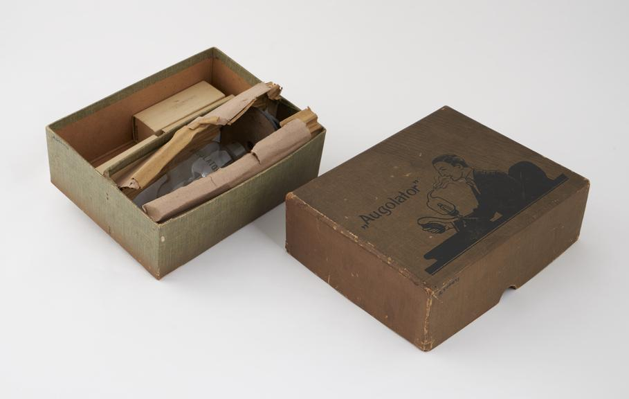 Glass inhaler, the Augolator', with instructions, in original carton, by the Augol Manufacturing Co.'