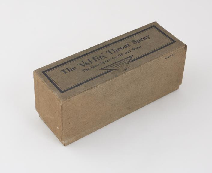 Box for a throat atomizer, Vel-fin' type, by S. Maw Son and Sons Ltd., London'