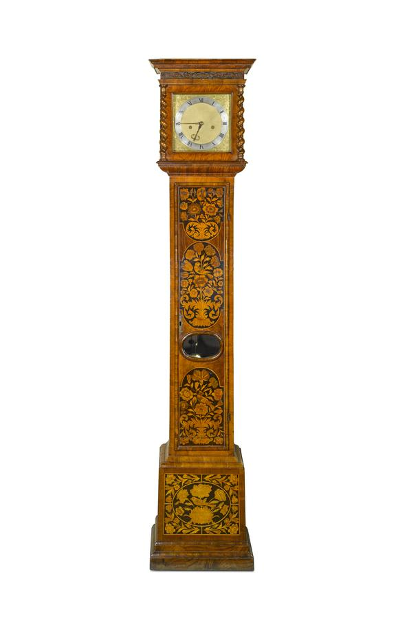 Eight-day longcase clock by Edward East in a later marquetry case