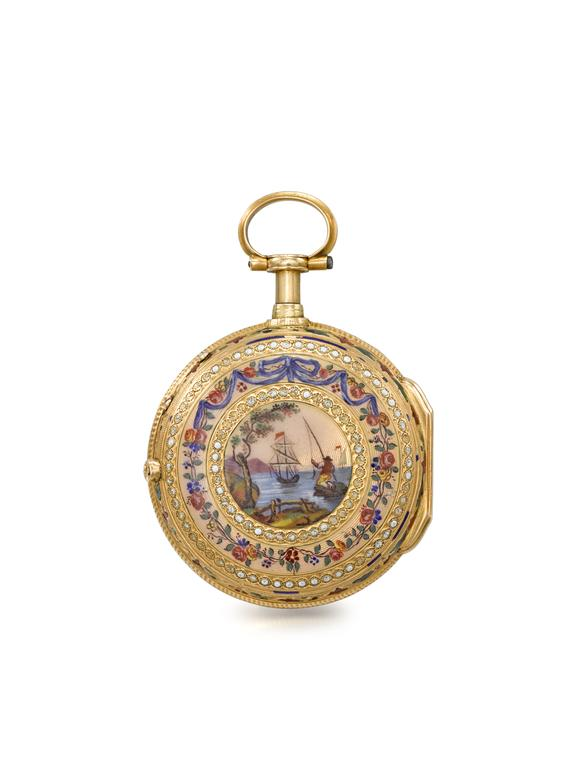 Quarter repeating gold watch with guilloche enamelled case by L'Epine, Paris.