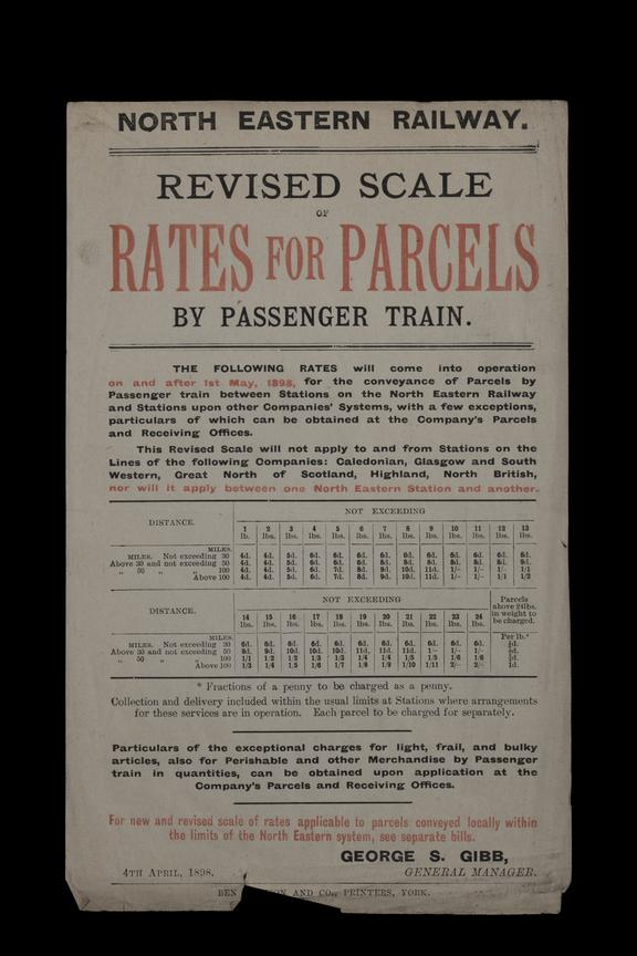 N.E.R Price List 'Revised scale of rates for parcels'