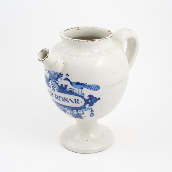 Tin-glazed eathenware syrup jar, inscribed S. IULAP:ROSAR', marked 'AK' on base, possibly by 'De Metalen Pot', Dutch,