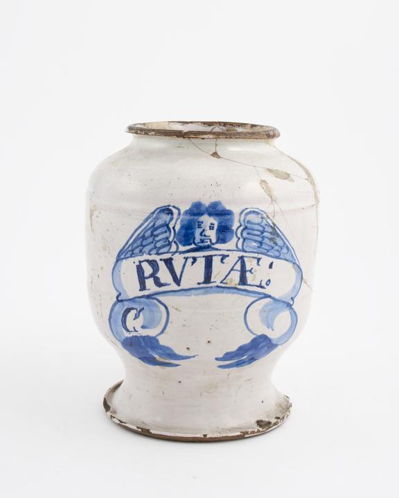 Tin-glazed earthenware drug jar, inscribed RVTAE:', decorated with angel motif, English, possibly Lambeth, 17th century'