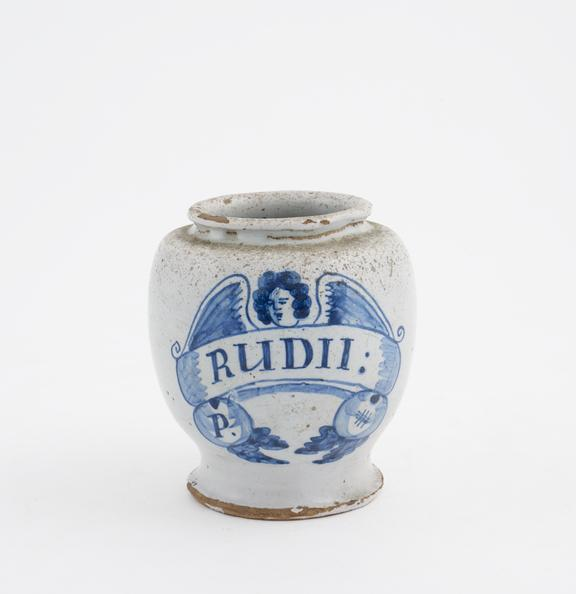 Tin-glazed earthenware drug jar, inscribed P.RUDII:', decorated with angel motif, English, 1690 to 1700'