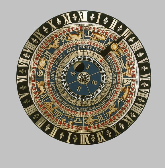 Replica of astronomical clock at Hampton Court. Copy, face-on view. Grey background. From a colour transparency in the