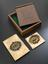 Large die for printing Indian revenue stamps, c. 1872, in mahogany box. Whole set, including box. Top 3/4 view. Grey