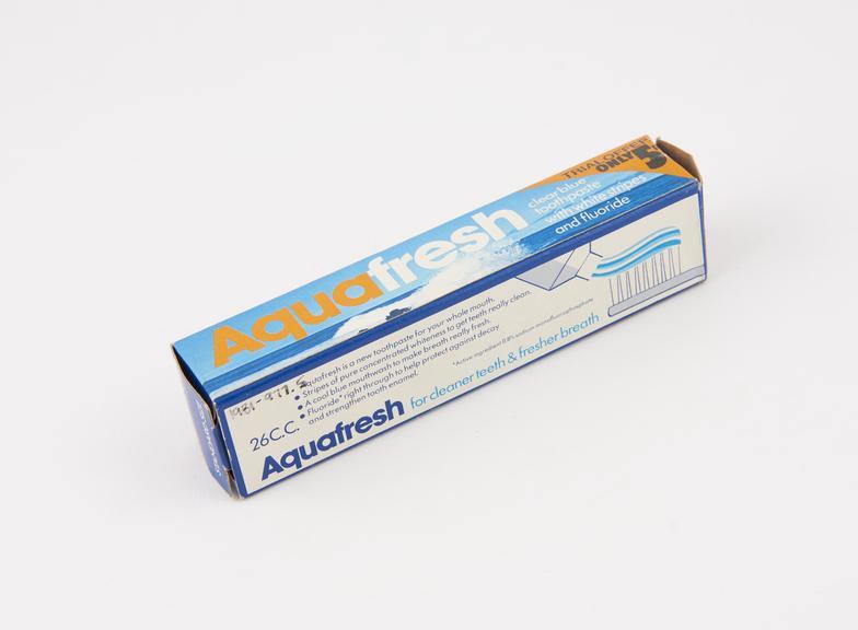Boxed tube of Aquafresh' toothpaste, unused, by Beecham Products Ltd., England, 1971-1975'