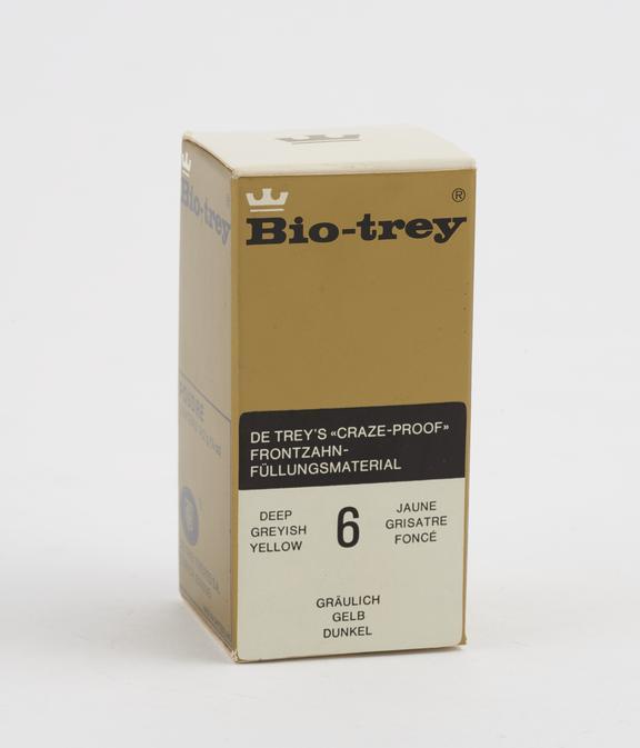 Boxed bottle of Bio-trey' silicate cement powder, by de Trey, Switzerland, 1975-1980'