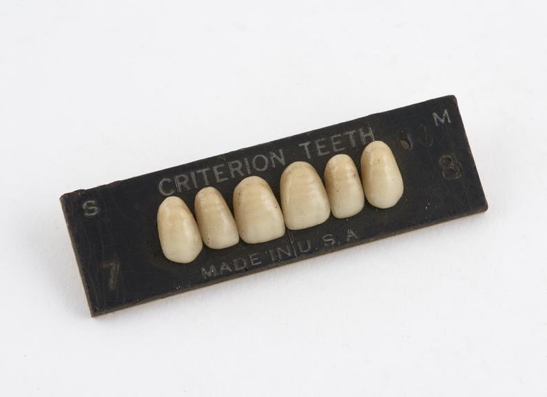 Set of pinned upper anterior porcelain teeth, Criterion', by Davis, Schottlander and Davis, USA, 1920-1935'