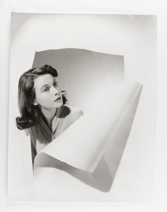 Kodak Collection. Oversize bromide photograph by Cecil Beaton. Portrait of British actress Vivien Leigh standing behind