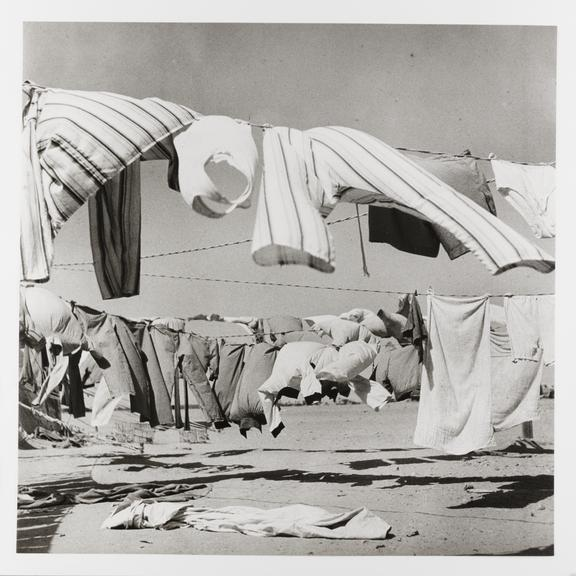 Kodak Collection. Vintage silver gelatin print. Photograph by Sir Cecil Beaton of clothes hanging out to try in the