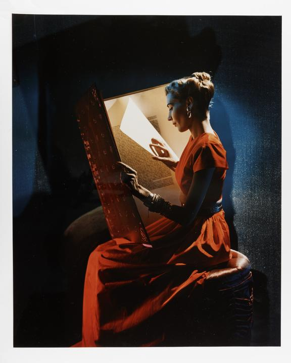 Kodak Collection. Chromogenic print. Photograph by Sir Cecil Beaton model Andrea Johnson wearing a red two piece Adele