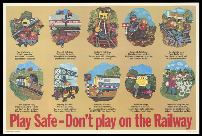 British Rail poster, Play Safe - Don't Play on the Railway, 1973