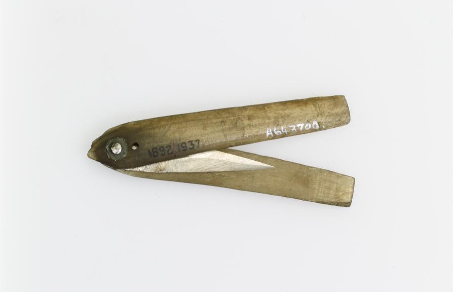 Lancet, steel, in bone sheath, Indian. A steel lancet in a bone sheath, from India. Lancets are used for bloodletting,