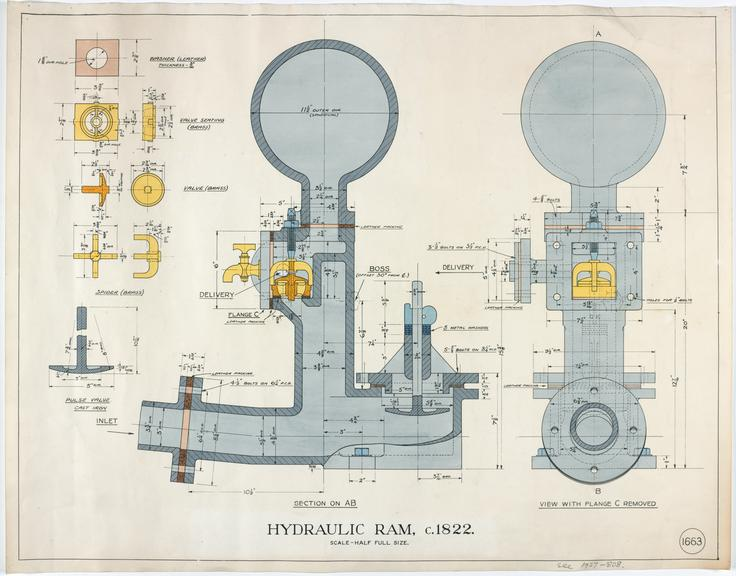 Dimensional drawing (scale 1:2) showing sectional arrangement of Easton Hydraulic Ram, 1822 (Inv. No. 1927-808)